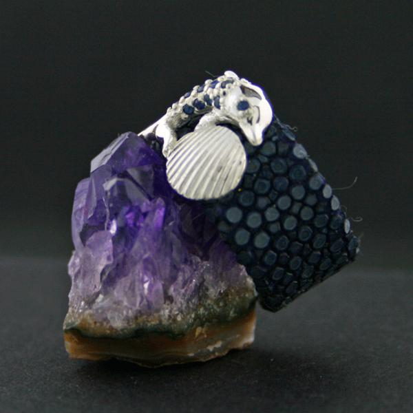Saphir-Rochenhaut-Ring, 925/-Silber