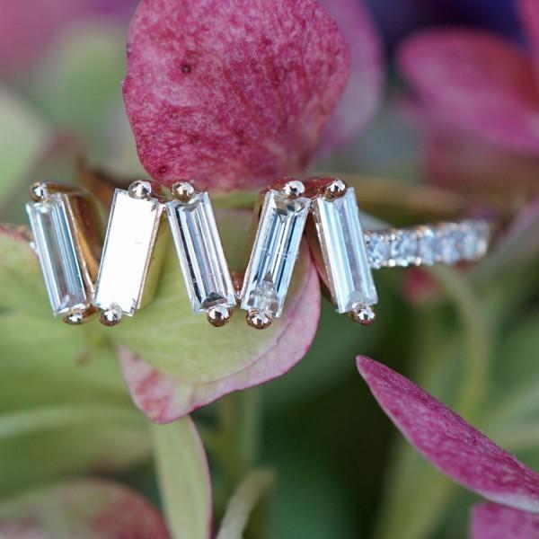 Brillant Diamant Ring 0.35 ct 750er Gelbgold ELFENZART ZICKZACKKURS