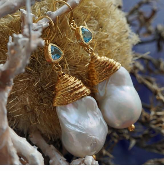 Perl Topas Ohrhänger Silber vergoldet Handarbeit great big