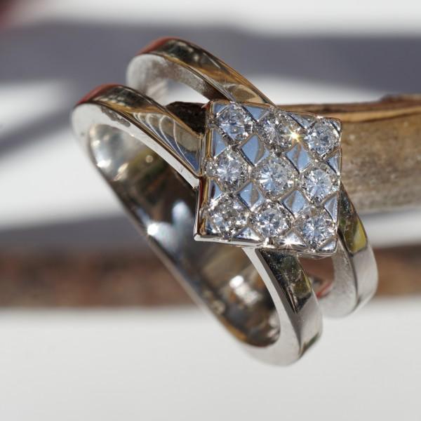 Raute Diamant Ring 0.50 ct TW / VVS 750er Weissgold Vollschliff Brillanten Topqualität