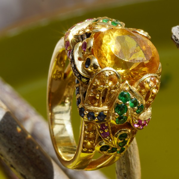 Edelstein Brillant Ring 750er Gelbgold...Phantasia....märchenhaft gestaltet....m. Meisterpunze