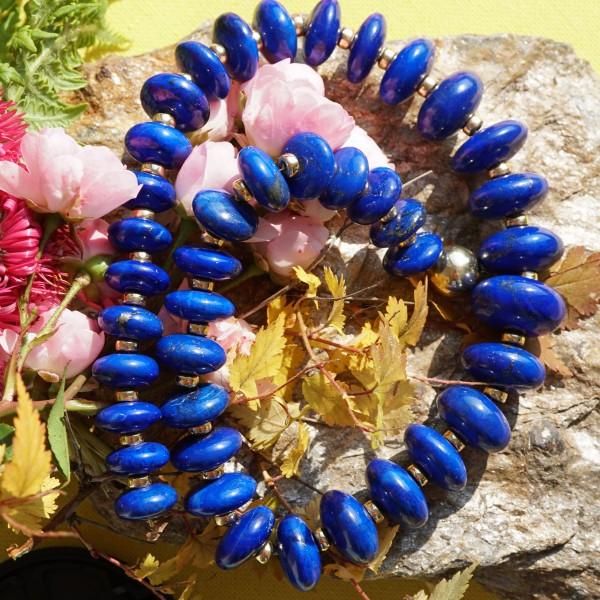 Lapis Lazuli Kette fein AAA+ Maße 10-16 mm Goldlinsen in 750er Gold Nachlassverwertung