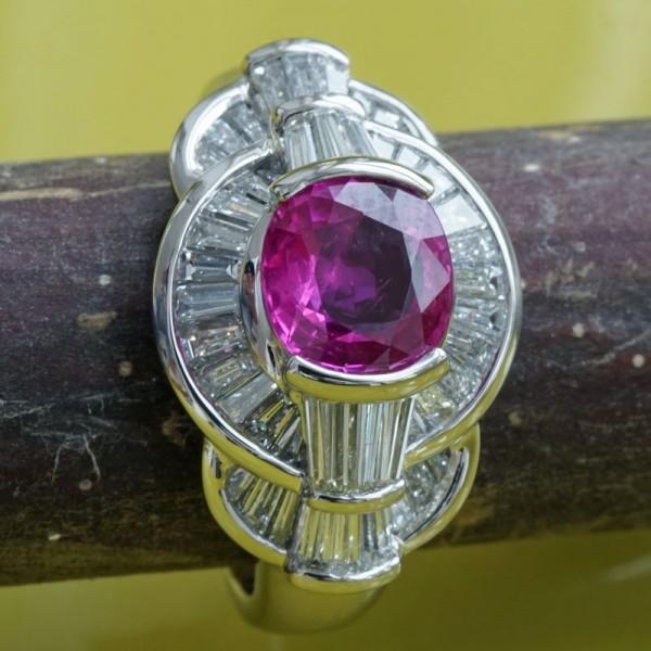 Rubin-Diamant-Ring-900er-Platin-1.35 ct-1.12 ct