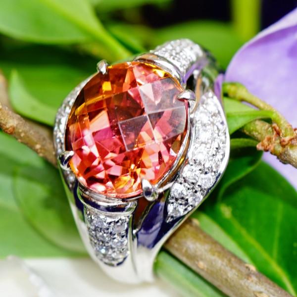 Turmalin Brillant Ring in 900er Platin seltene Farbe bicolor apricot pink