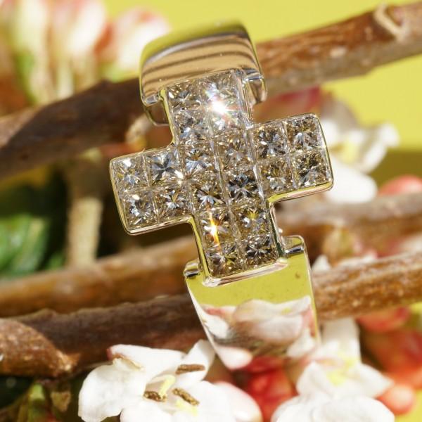 Kreuz Diamant Ring 1.20 ct TLB / VVS 750er Weissgold Prinzess Topqualität