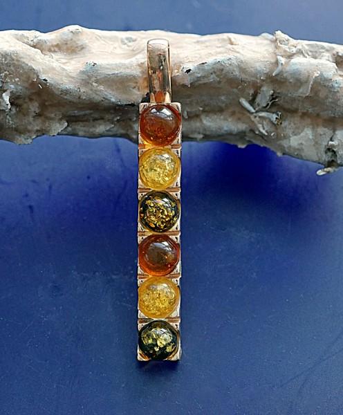 Anhänger Zauberstab 925er Silber silber oder rosevergoldet 49 x 7 mm Bernstein