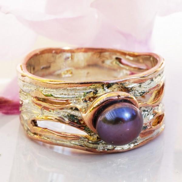 Perl Ring 925er Sterlingsilber ....rough sea.....Handarbeit teilvergoldet oder blank
