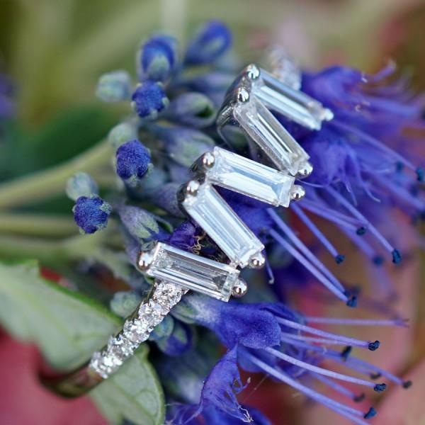 Brillant Diamant Ring 0.35 ct 750er Weißgold ELFENZART ZICKZACKKURS