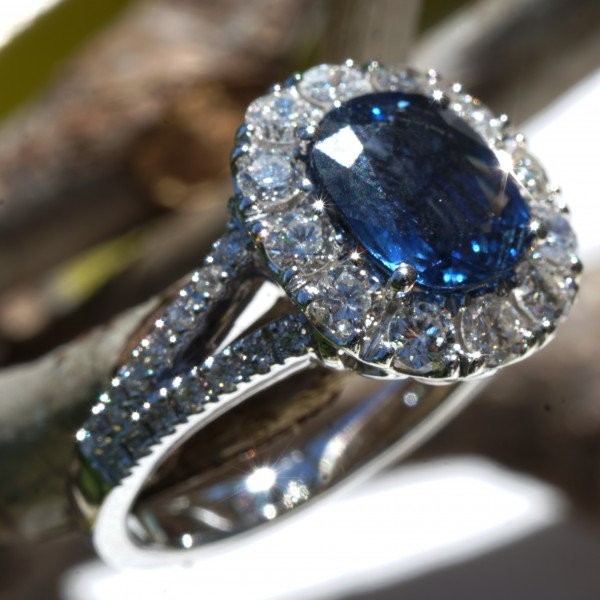 Saphir Brillant Ring 750er Weissgold AAA+ 1.93 ct 0.94 ct perfekte Verarbeitung