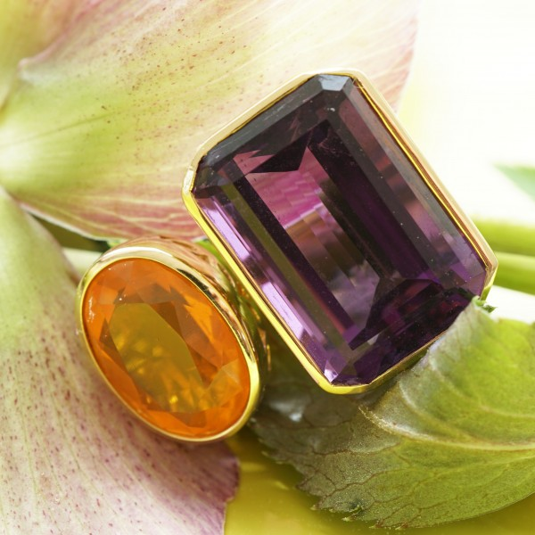 Amethyst Feueropal Ring extremly hot 14.79 3.89 ct 750er Gold tolle Farben