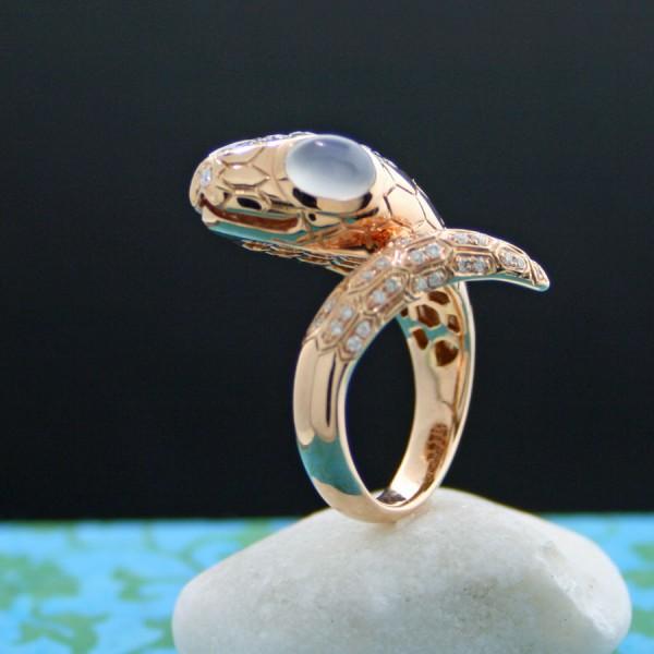 Schlange-Mondstein-Brillant-Ring, 750er-Gold, Rosegold