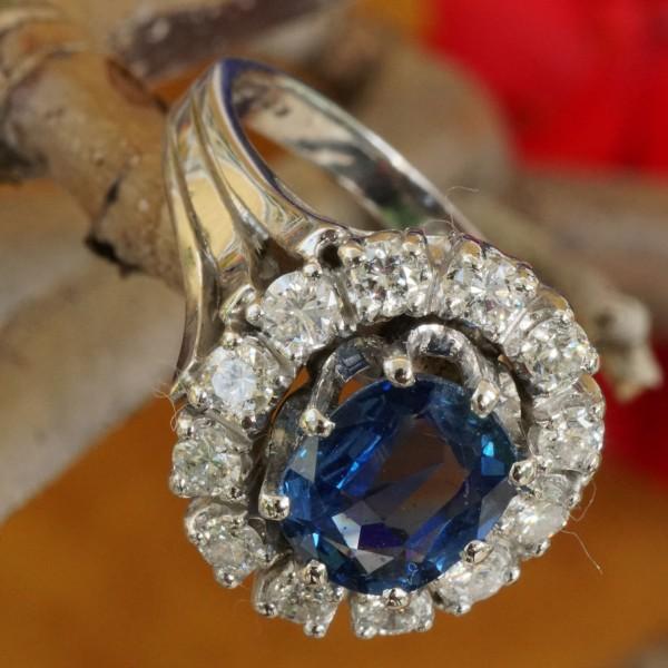 Brillant Saphir Ring 1.00 ct W SI-P1 585er Weissgold aus Nachlassverwertung-