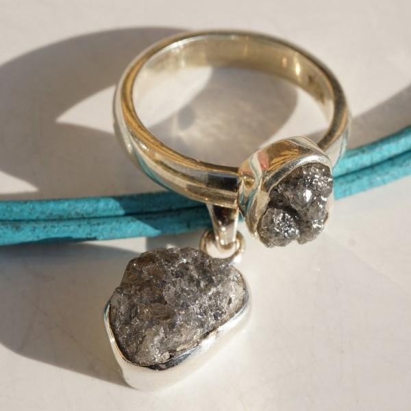 Rohdiamant Ring 925er Silber 6,4 Gramm schwer... Der UNGEZÄHMTE