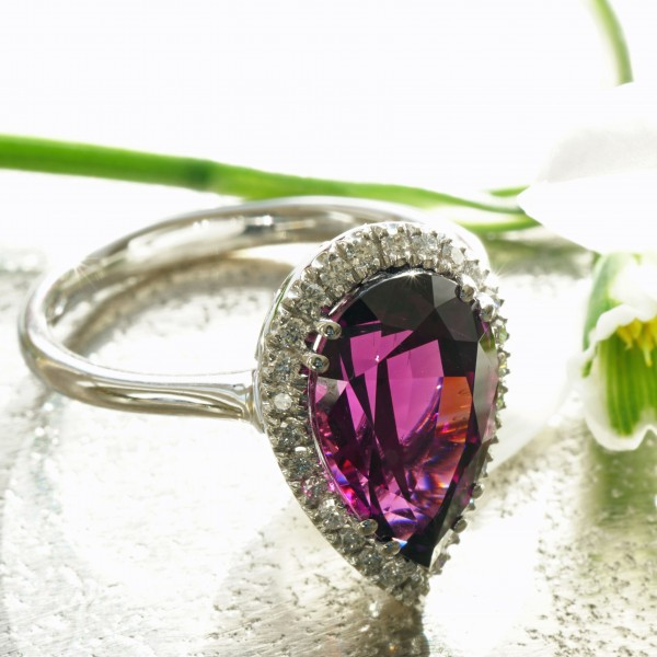 Rhodolite diamond ring 750 white gold, 4.74 ct, Mozambique AAA+ couldn't be better ...