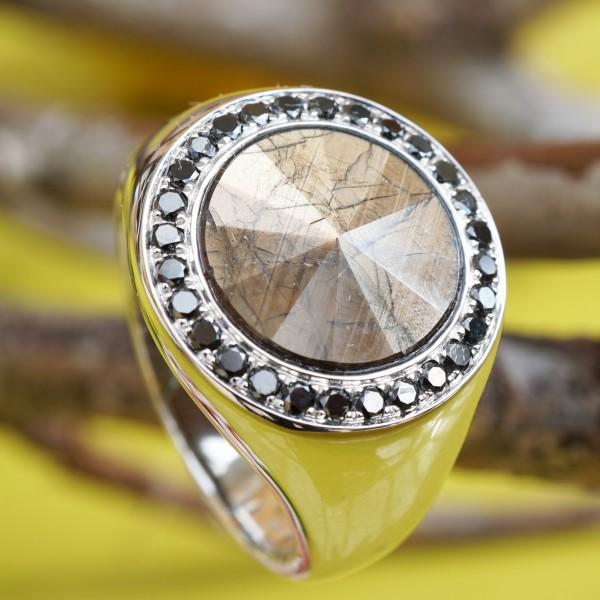 Saphir Diamant Ring 5.63 ct 0.42 ct AAA+ 750er Weissgold seltene Goldfarbe