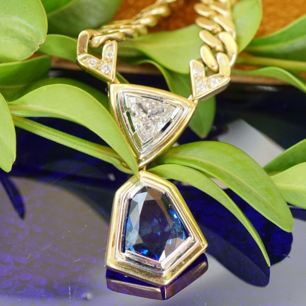 Turmalin Diamant Collier 585er Gold Granulierarbeit Handarbeit aus Nachlass günstig