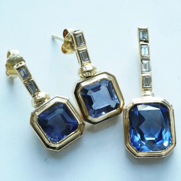 Saphir Diamant Ohrhänger m. Anhänger 750er Gelbgold 19.18 ct 0.88 ct TW / VVS