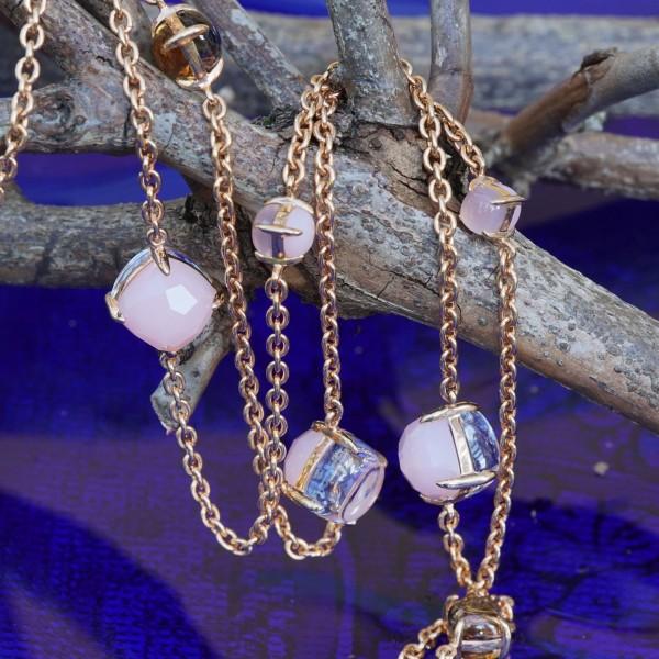Chilango Kette Opal Bergkristall Rauchquarz 925er-Silber rosevergoldet