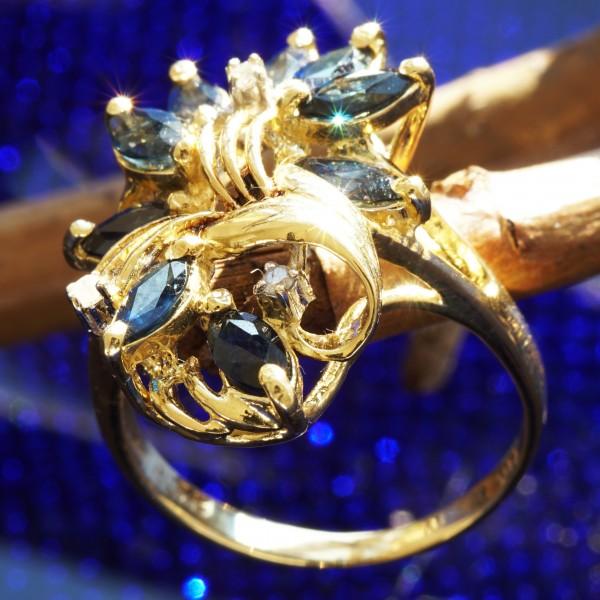 Saphir Diamant Ring 585er Gelbgold royalblau ....Blätterspielmotiv