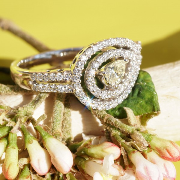 Diamanttropfen Brillant Ring 0.22 ct 0.42 ct 750er Weissgold...Gala Dinner