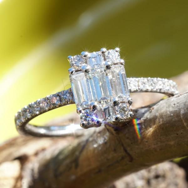 Brillant Diamant Ring 750er Weissgold 0.76 ct TW LUPENREIN-VVS signiert