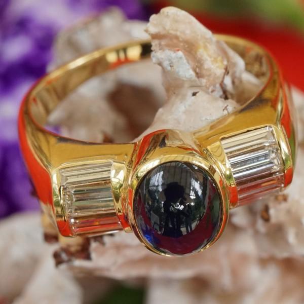 Saphir Diamant Ring hochwertig 750er Gelbgold Beste Edelsteinqualität!