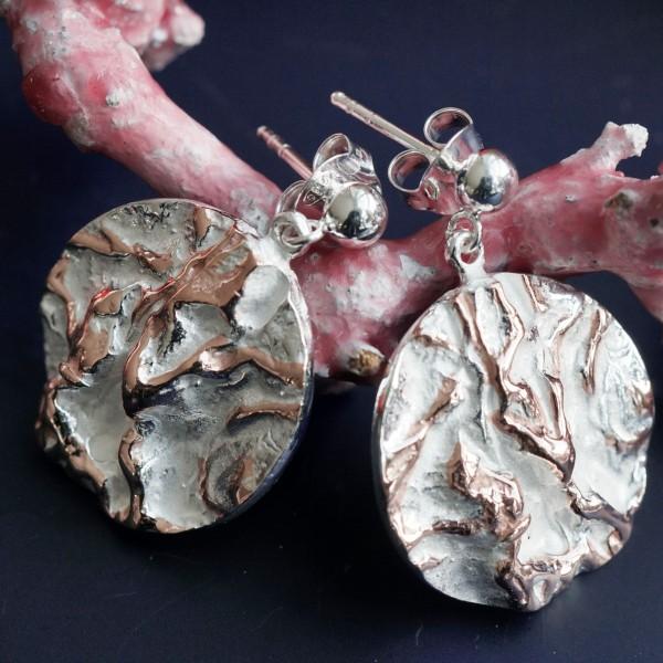 Ohrhänger Gletscherworld 21 mm D. Silber rosevergoldet Handarbeit