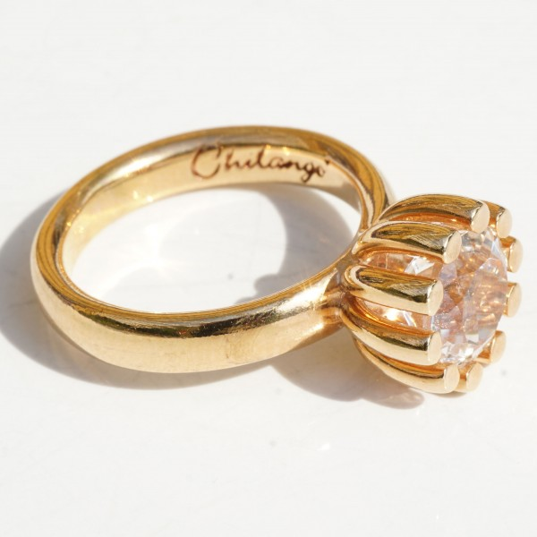 CHILANGO RING Grand Palais rock crystal 925 silver rose gold-plated new with original solid case