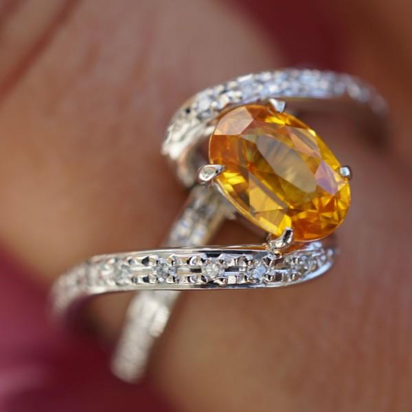 Saphir Brillant Ring in 900er Platin 1.6 ct 0.16 ct Reichtum GELB