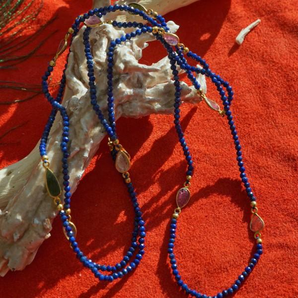 Turmalin Sodalith Kette 90 cm lang Silber vergoldet Karabinerschliesse COOL