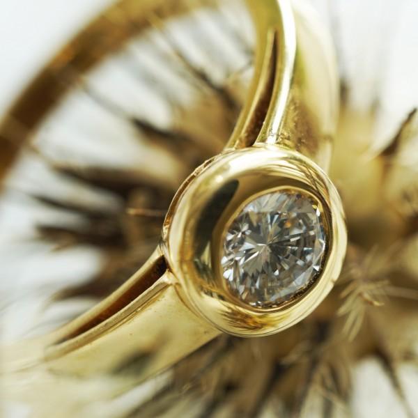 Solitär Brillant Ring 0.375 ct TW P1 750er Gelbgold 5 mm D. tolle Brillanz