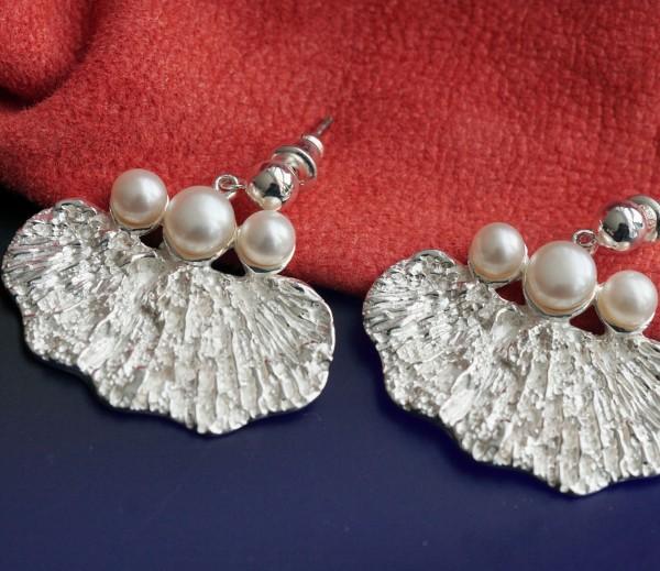 Ohrstecker drei Perlen 925er Silber Handarbeit massiv