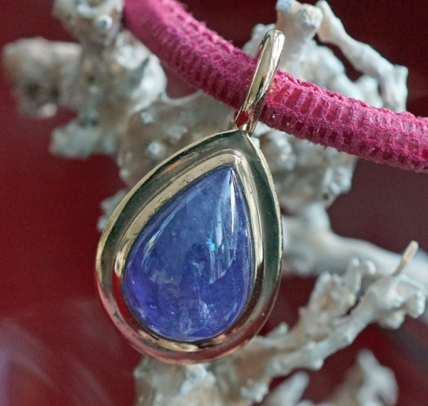 Tansania Pendant 31 x 16 mm Silver 925 Roségold plated great color